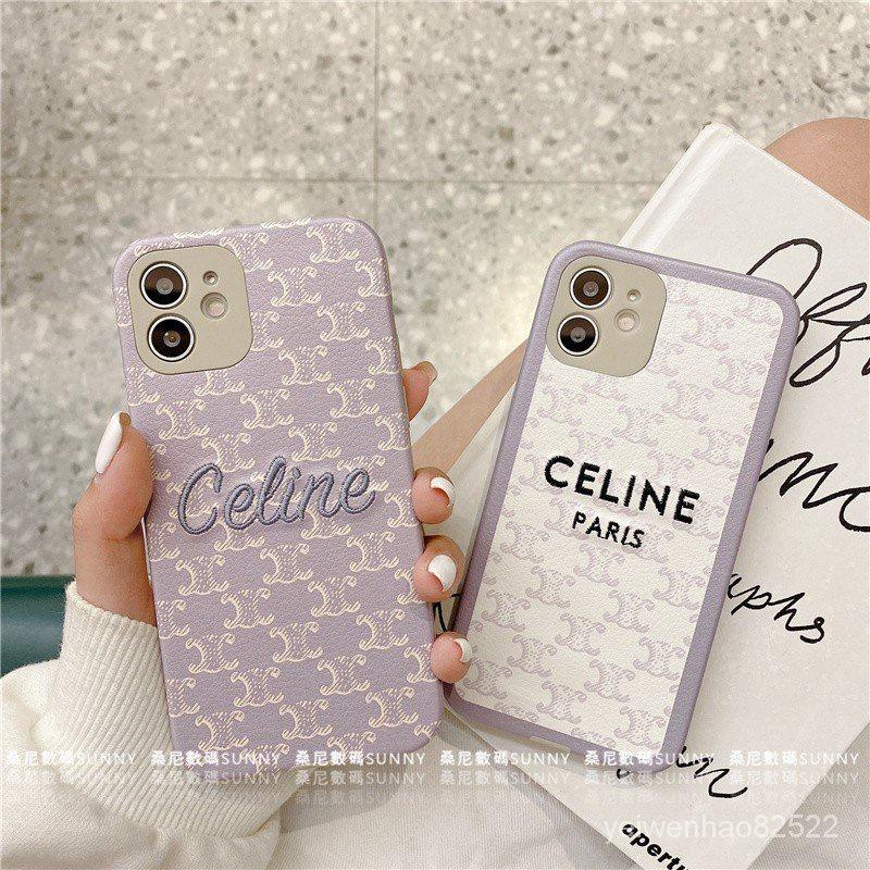 CELINE 防摔 刺繡手機殼 賽琳 矽膠手機殼 適用於 iphone 11 12 pro max XR 8Plus W