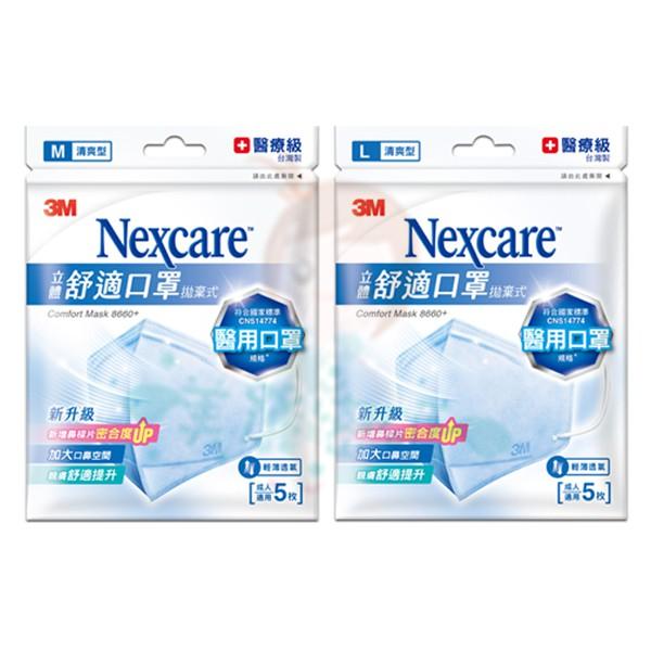 3M Nexcare 立體舒適口罩 拋棄式 清爽型 M / L 成人適用 醫用口罩 5枚 8660+【美麗密碼】超取
