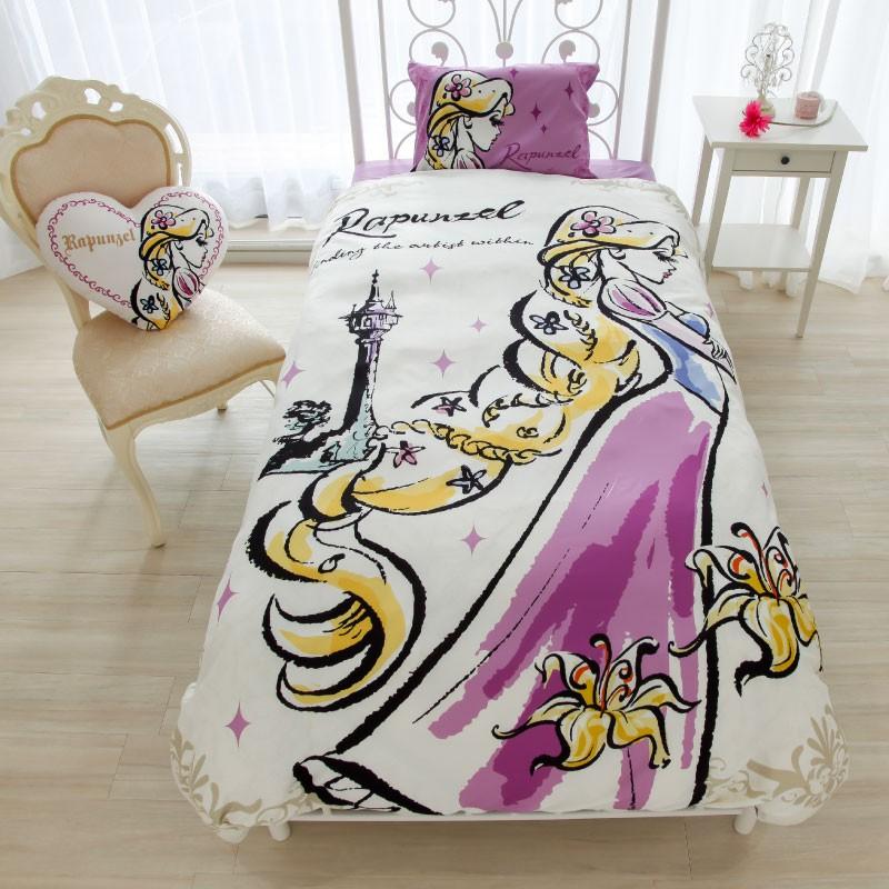 日本代購 迪士尼 disney 愛麗絲夢遊仙境 貝兒 長髮公主 小美人魚 白雪公主 單人床包 三件組 床單 枕頭套 被套