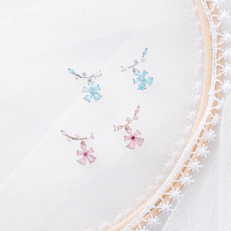 925銀針 韓國時尚水晶鋯石樹枝花朵耳環