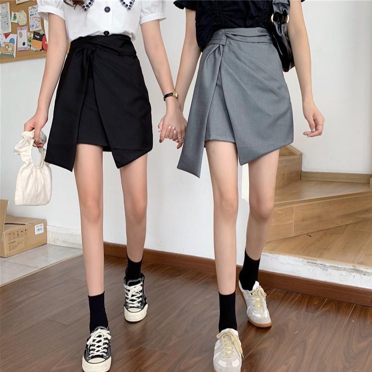高腰黑色顯瘦半身裙女復古格子不規則西裝小個子a字裙