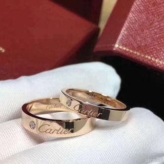 經典 Cartier/ 卡家簽名款戒指 18K玫瑰金 鑲鑽男女情侶對戒婚戒skcm817 臺南市