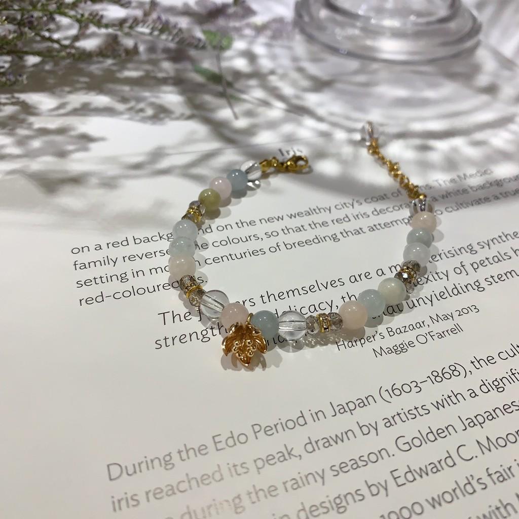 【李氏私飾】半寶石手鍊 銀鍍金手鍊 轉運手鍊 摩根石手鍊 輕珠寶 手工手鏈 芙蕾雅的手腕花