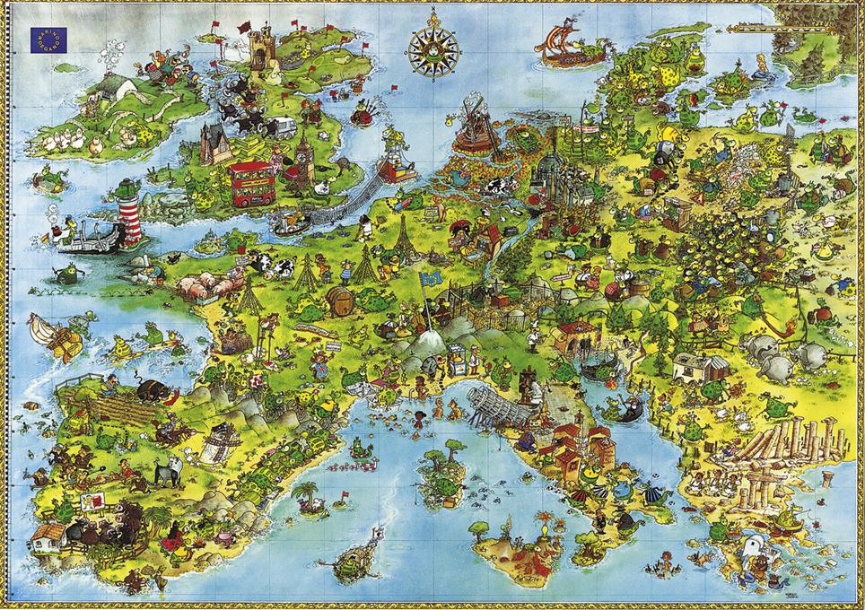 德國Heye成人拼圖地圖4000片卡通玩具雷諾瓦