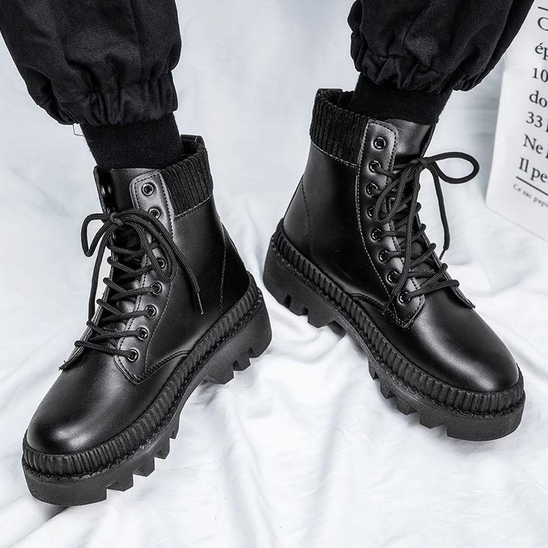 冬季馬丁靴男鞋韓版潮流中幫工裝皮靴加絨保暖棉鞋英倫風高幫皮鞋、