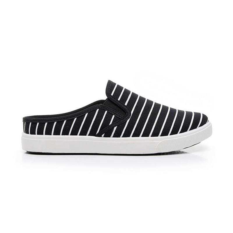 夏季 無后跟懶人帆布鞋 女鞋 新款學生韓版百搭半拖小白鞋子 半托帆布鞋