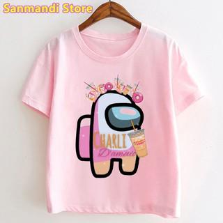 Dunkin Donuts 圖形印花 T 恤上衣的女孩粉紅色可愛童裝原宿襯衫卡哇伊兒童服裝