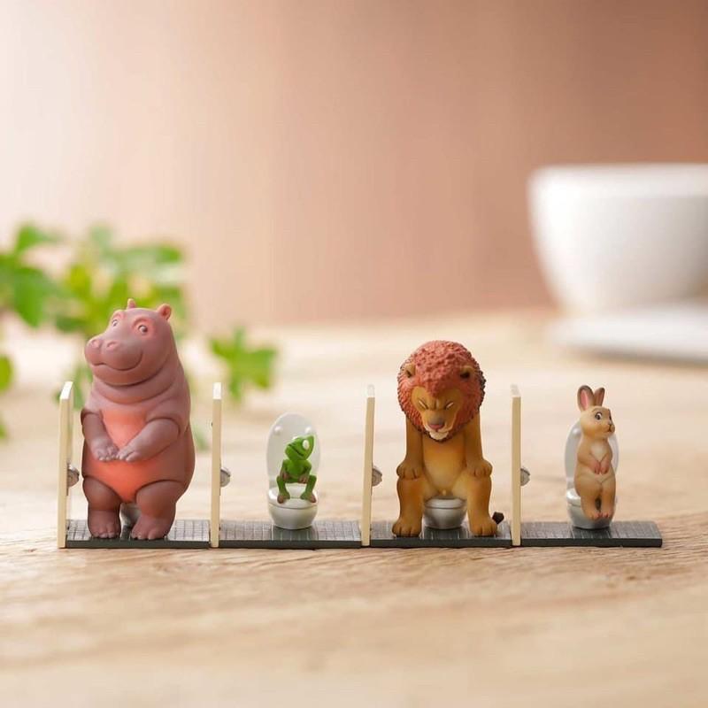 「廁所時光」日本 海洋堂 佐藤邦雄的動物們 兔子 獅子 河馬 變色龍 馬桶 盲盒 扭蛋 轉蛋 全新未拆封