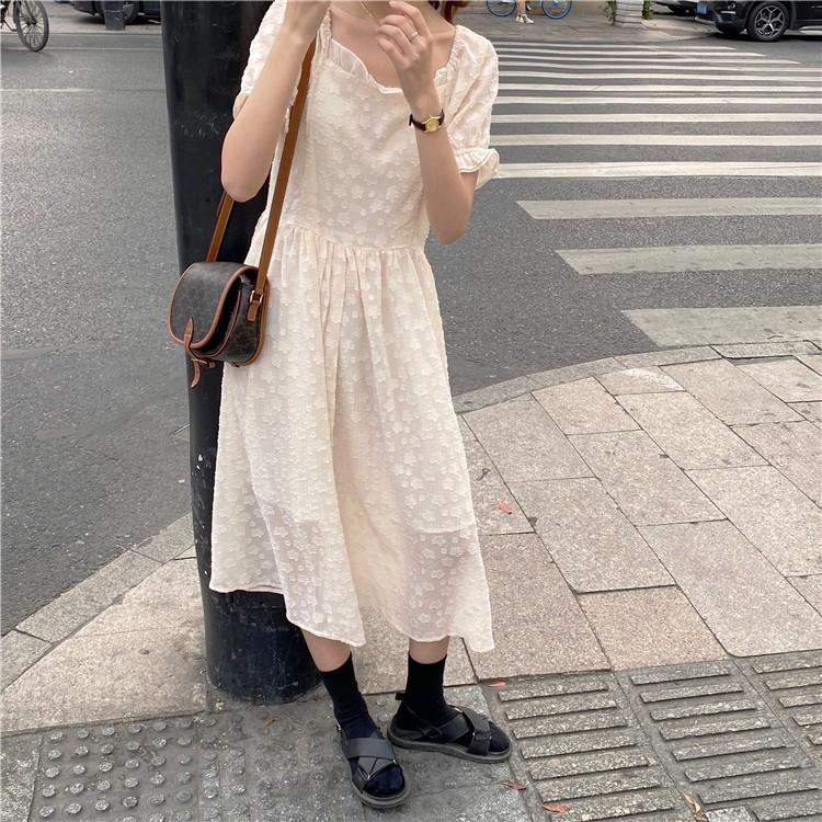 韓版桔梗法式小眾初戀復古泡泡袖溫柔風連衣裙 小宅女