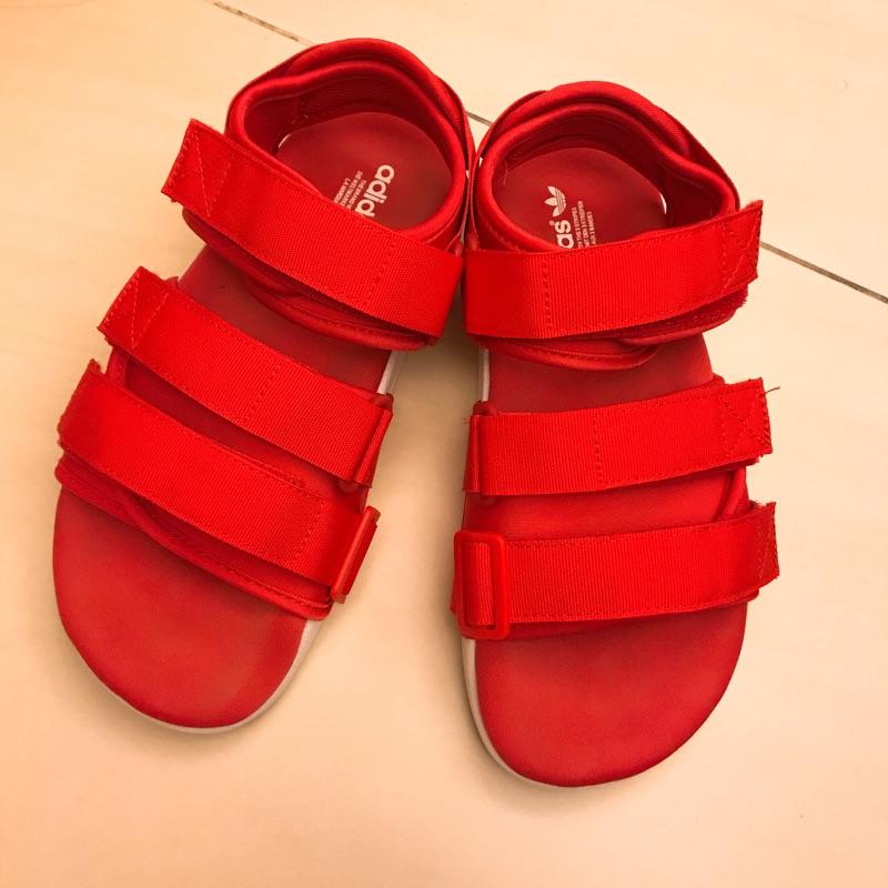 隨便賣,穿不下了!正版 adidas Adilette SANDAL 全紅 厚底 魔鬼氈 涼鞋 繃帶鞋