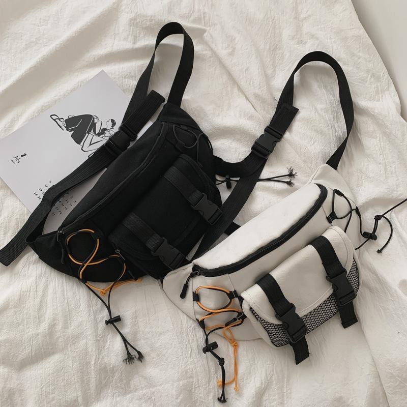 【免運】韓版ins個性街頭潮流包 胸包 腰包 情侶包包 休閒運動純色帆布單肩斜挎包