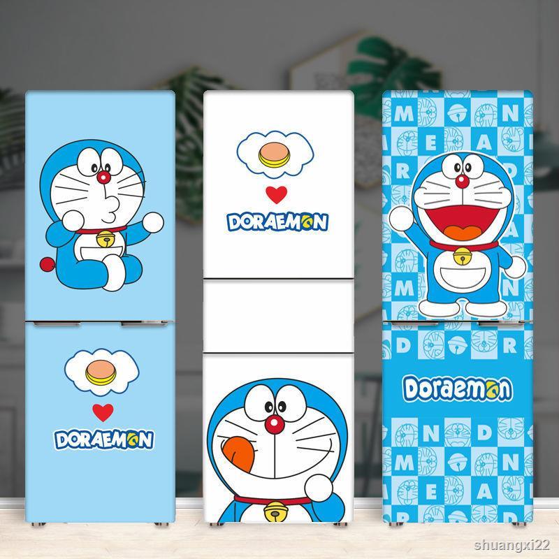 下殺◐ஐ哆啦A夢冰箱貼紙自粘 創意卡通冰箱貼 多啦機器貓雙開門冰箱貼紙
