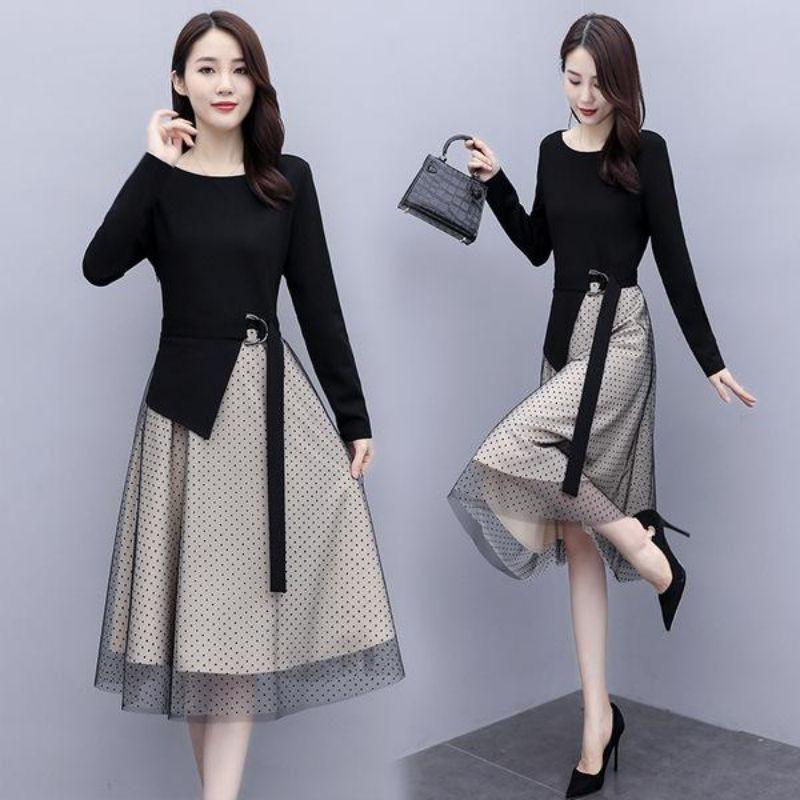 黑色時尚圓點網紗拼接洋裝