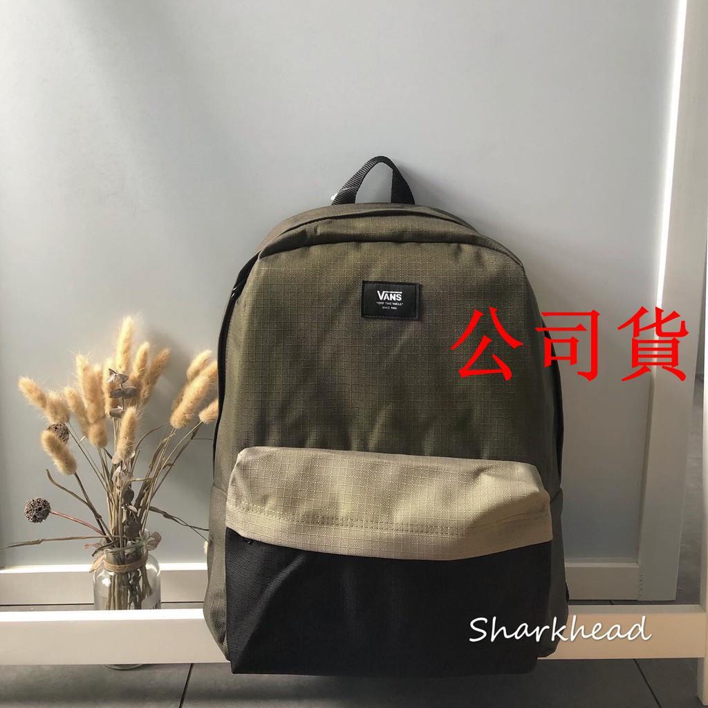 【公司貨】Vans Backpack 後背包 書包 雙肩包 黑 軍綠 拼接 後背包 黑標 格紋 黑綠