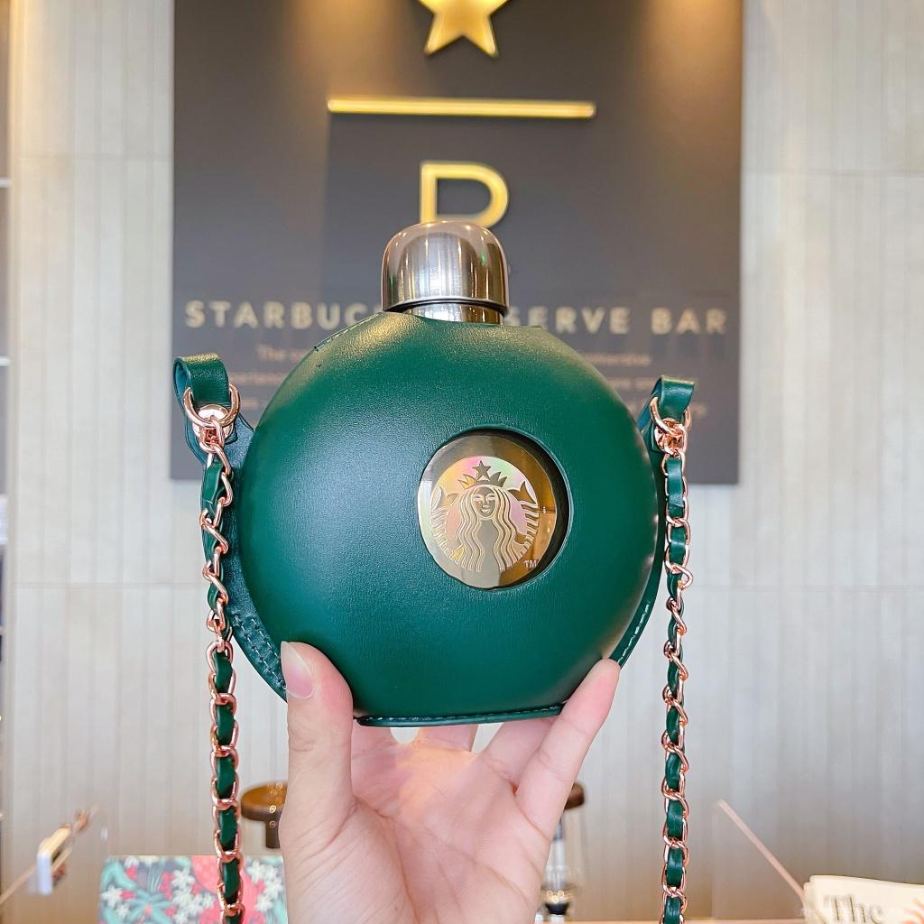 星巴克新款50週年杯子復古玫瑰金女神鏈條杯套圓形不鏽鋼隨行水壺
