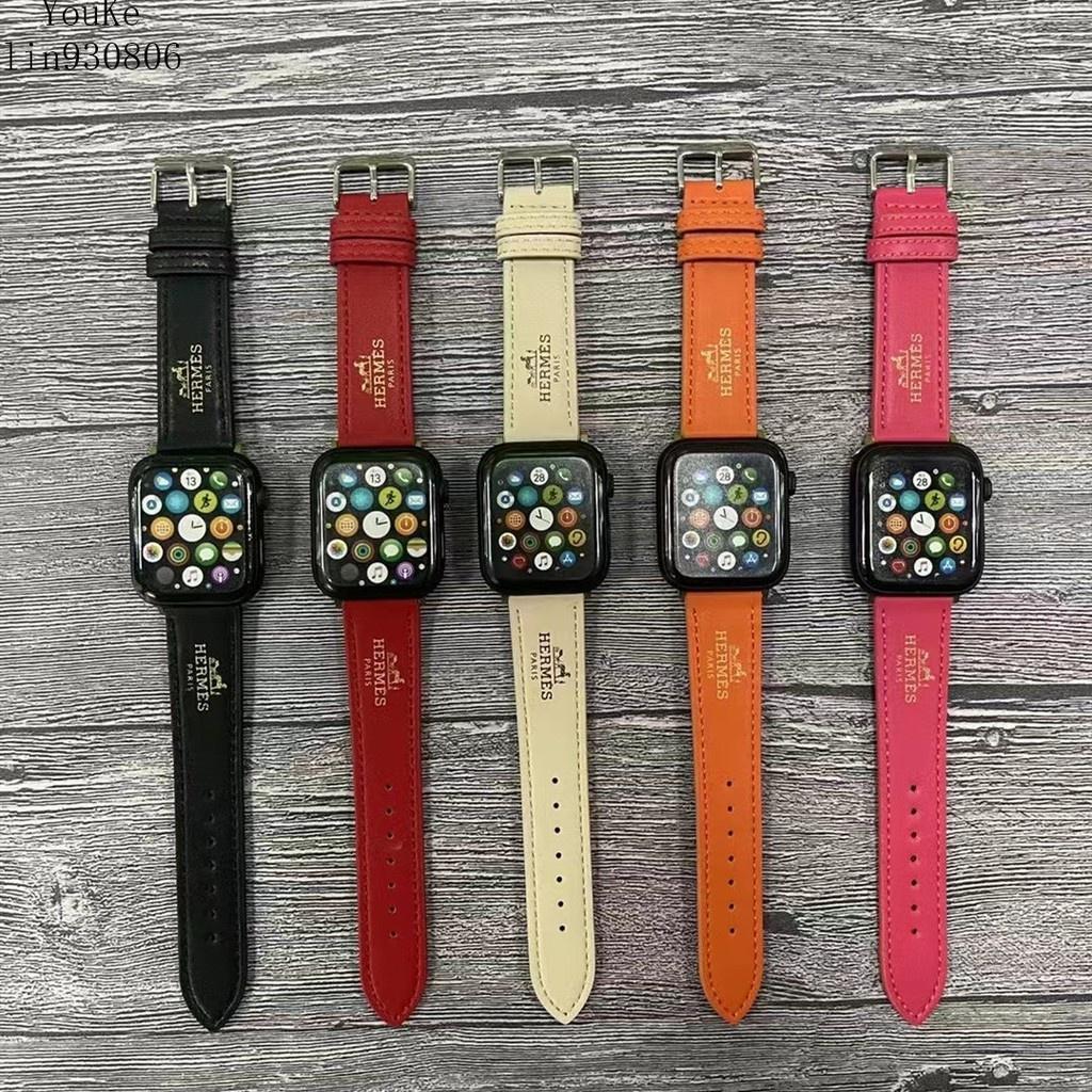 現貨 愛馬仕HERMES皮革錶帶 Apple Watch錶帶 適用於Apple Watch1/2/3/4/5/6/SE