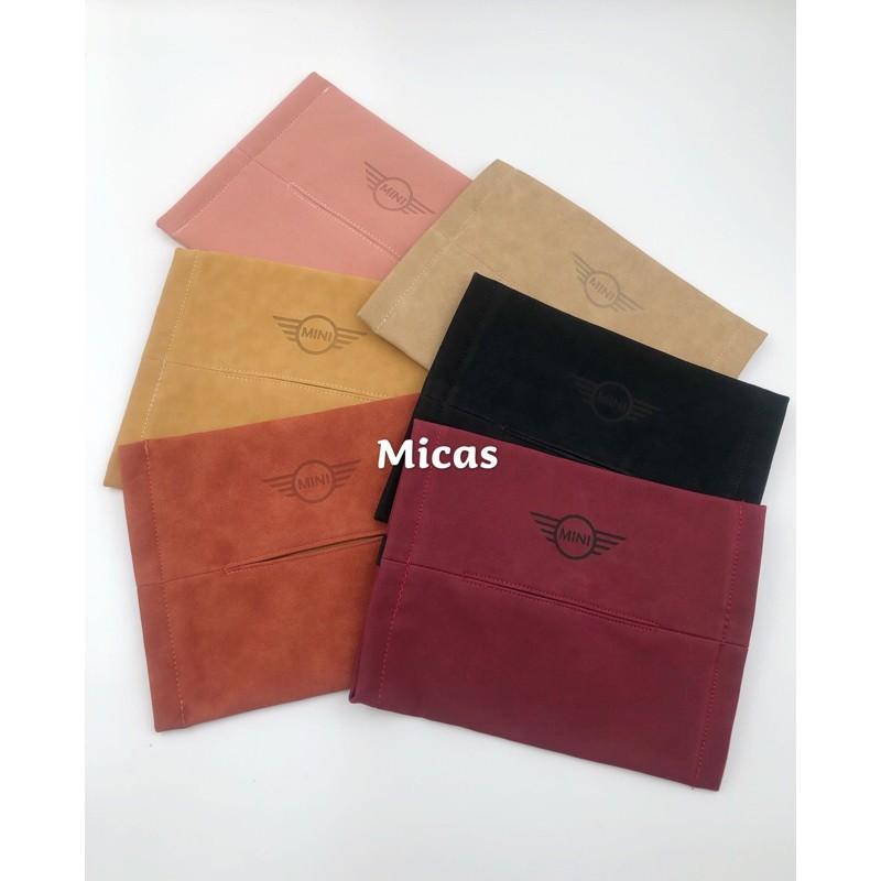 Micas/ MINI COOPER 平放式/椅背式/兩用皮質紙巾袋/6款