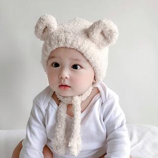 Se7en童嬰堡 韓國超萌嬰幼兒保暖套頭帽 男女寶寶護耳帽 秋冬圈圈紗小熊耳朵兒童帽子