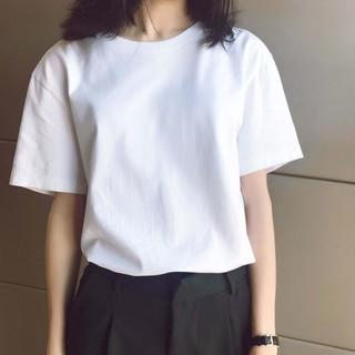 21亲斤多純棉白色t恤女短袖春夏新款圓領純白寬松內搭體桖上衣打底衫2745
