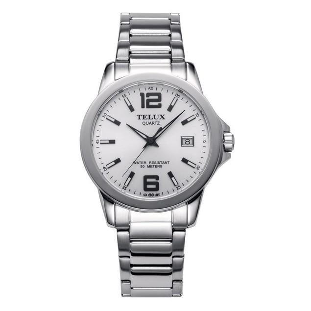 台灣品牌手錶腕錶【TELUX鐵力士】輕薄質感數字腕錶手錶40mm台灣製造石英錶7002W-W11鋼帶白面