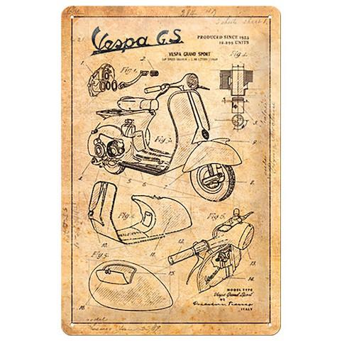 【德國Louis】Vespa GS 金屬牌 偉士牌高品質舊式復古設計圖鐵牌德國製馬口鐵牌裝飾牌廣告牌編號10015131