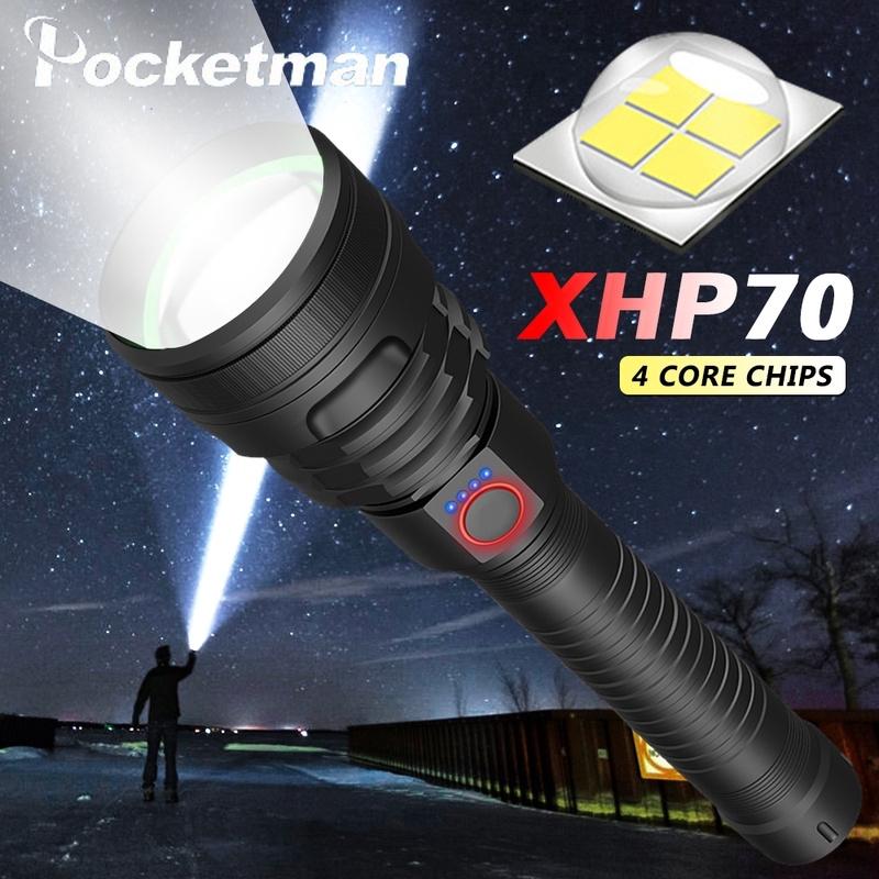 100000流明新4核XLamp-XHP70LED旋轉變焦三檔手電筒USB可充電手電筒18650 26650電池