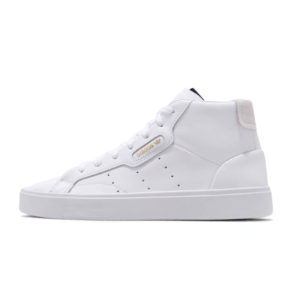 adidas 休閒鞋 Sleek Mid W 白 皮革 金標 中筒 女鞋 三葉草 小白鞋【ACS】 EE4726