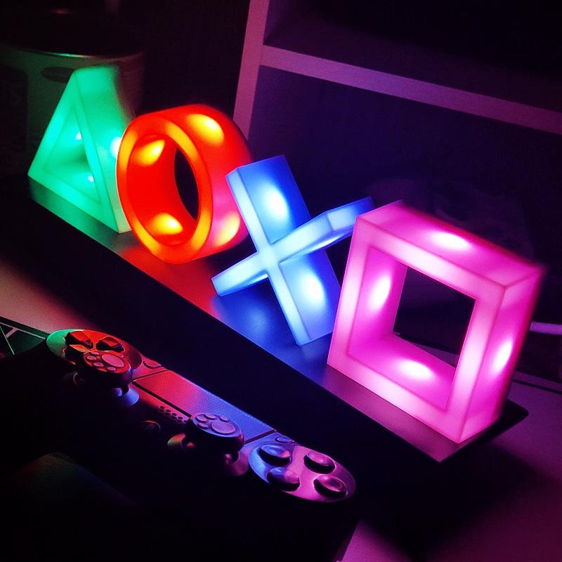小夜燈 氛圍燈 聲控燈 新款小夜燈  LED桌面音樂氛圍圖標燈 PS4電競遊戲聲控小夜燈