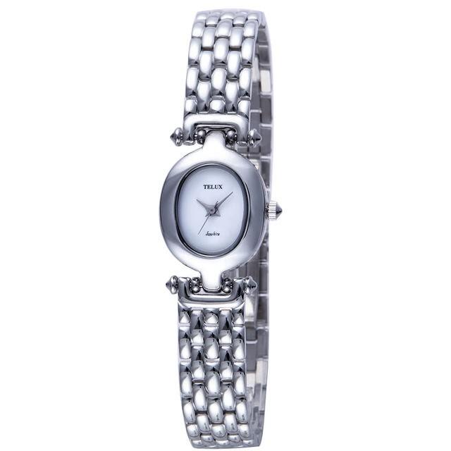 台灣品牌手錶腕錶【TELUX鐵力士】永恆系列女腕錶18MM台灣製造石英錶9906WK-W鋼帶白面