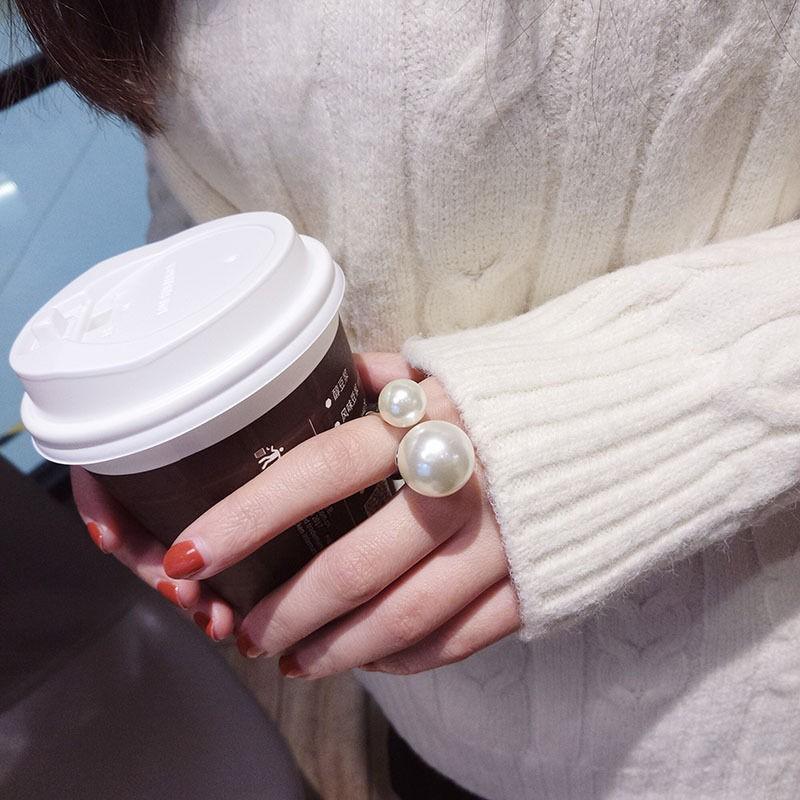 少女祈-復古-珍珠開口戒指簡約歐美風大小雙珍珠開口網紅食指戒指★爆款熱賣