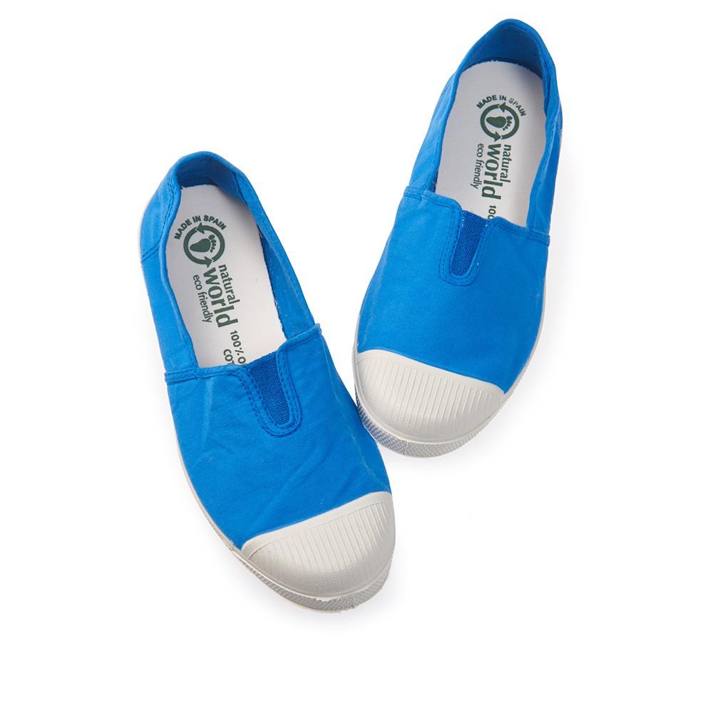 Natural World 西班牙休閒鞋 素色鬆緊基本款-天空藍
