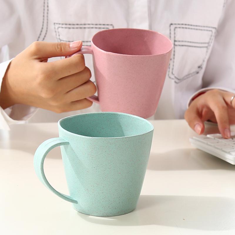 限時特賣北歐風小麥稈簡約素色水杯茶杯 創意學生牛奶杯大容量杯子加厚情侶杯咖啡杯 漱口杯 刷牙杯組童