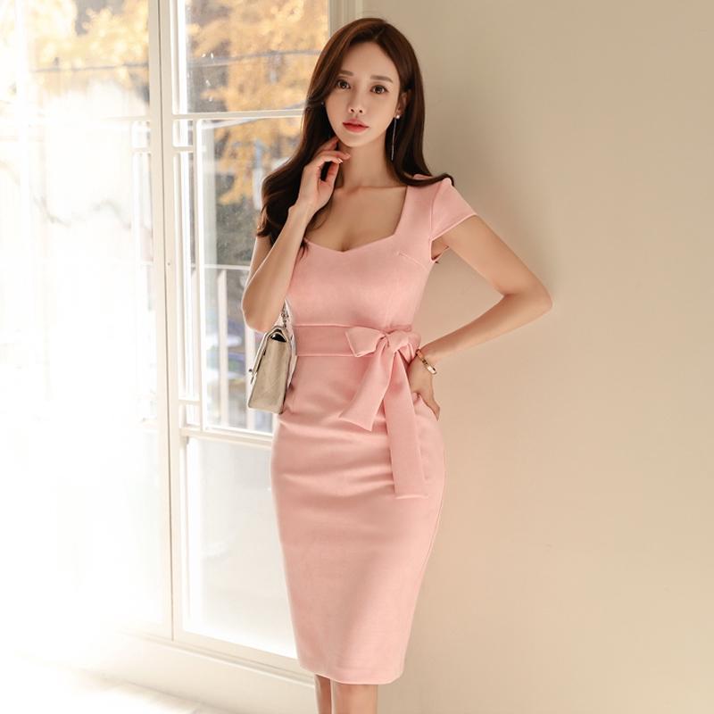 粉色正韓洋裝綁帶連衣裙短包袖尺碼合身顯身材洋裝
