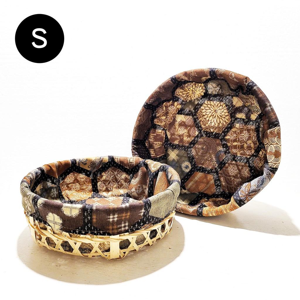Vintage+。復古家。日本製傳統系列。和風布圓形丸型竹編竹簍水果籃收納籃和菓子籃竹籃子(S/L)(特價)