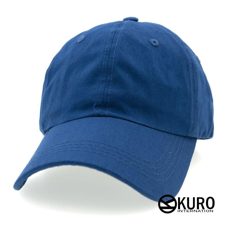 KURO-SHOP 韓版水洗藍色老帽棒球帽布帽(可客製化電繡)