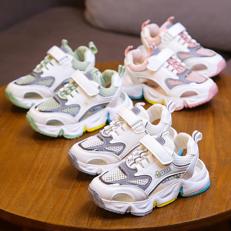 優品@兒童運動涼鞋2020夏季新款男童鏤空網面包頭沙灘鞋女童網紅彩虹鞋