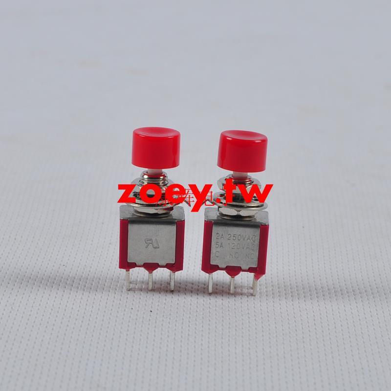 高品質紅色按鈕開關 六腳帶帽  微型鈕子 無鎖復位按鈕開關