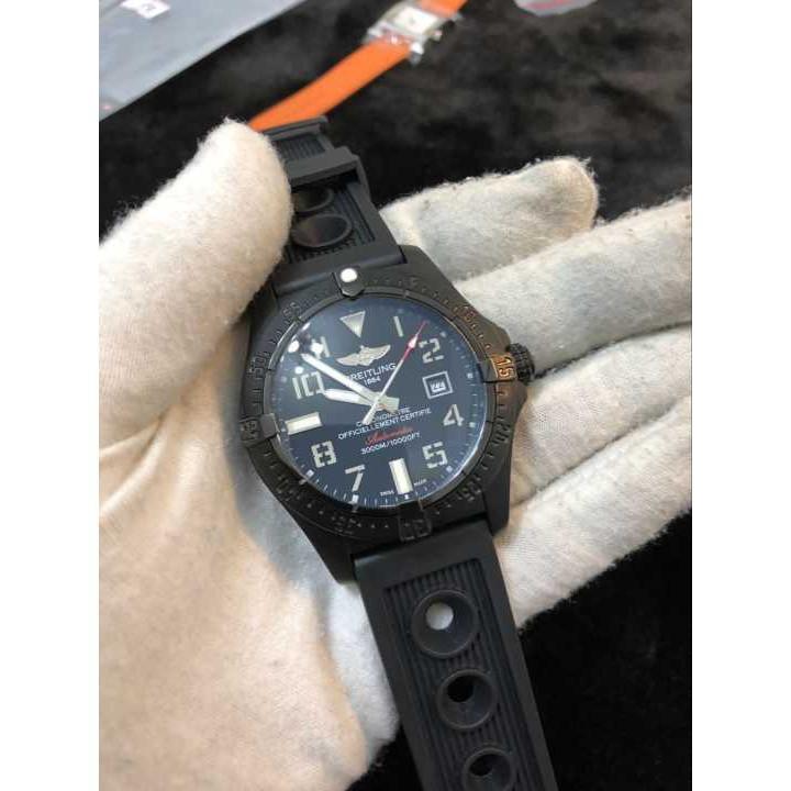 二手正品 Breitling 百年靈 男士機械腕錶 機械錶 橡膠錶帶