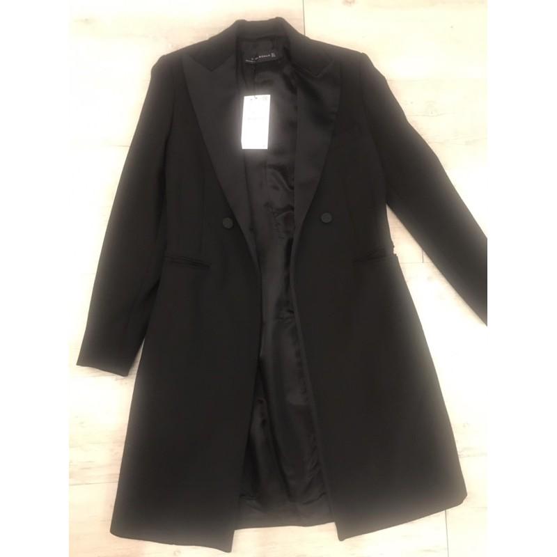 Zara黑色長版西裝外套全新