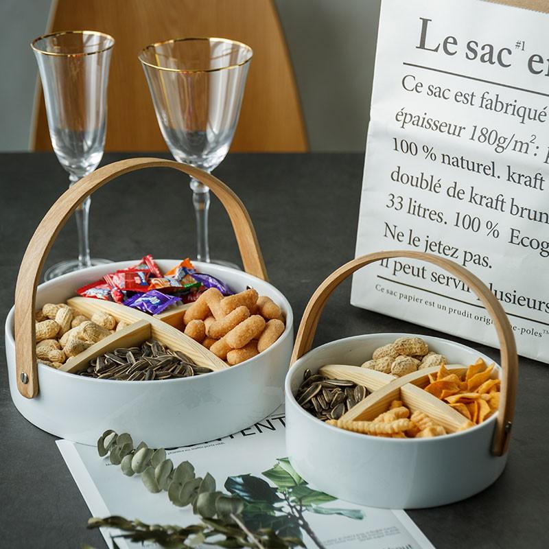 北歐ins風格陶瓷水果盤奢華高檔創意現代客廳家用分格零食干果盤