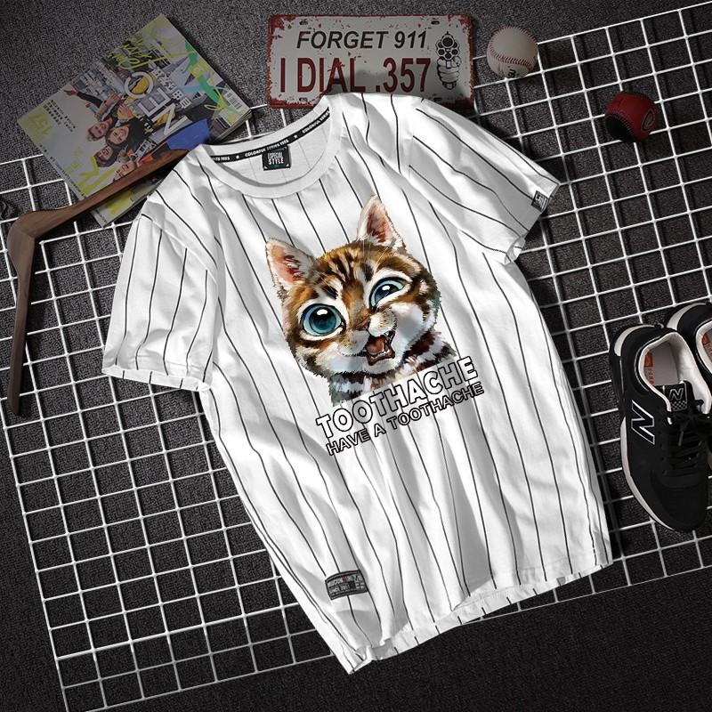 搞怪貓星人印花短袖T恤男女寬松港風條紋夏季衣服T恤