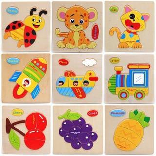 木製立體拼圖 木質動物交通水果蔬菜立體拼圖 寶寶幼兒童木製益智拼板 桃園市