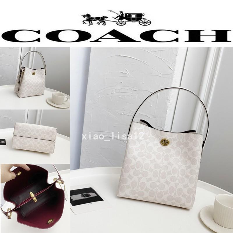 代購實拍 COACH/蔻馳 89002 爆款熱賣 手提包 女士水桶包 pvc配頭層牛皮 斜挎包 單肩包 側背包 附購證