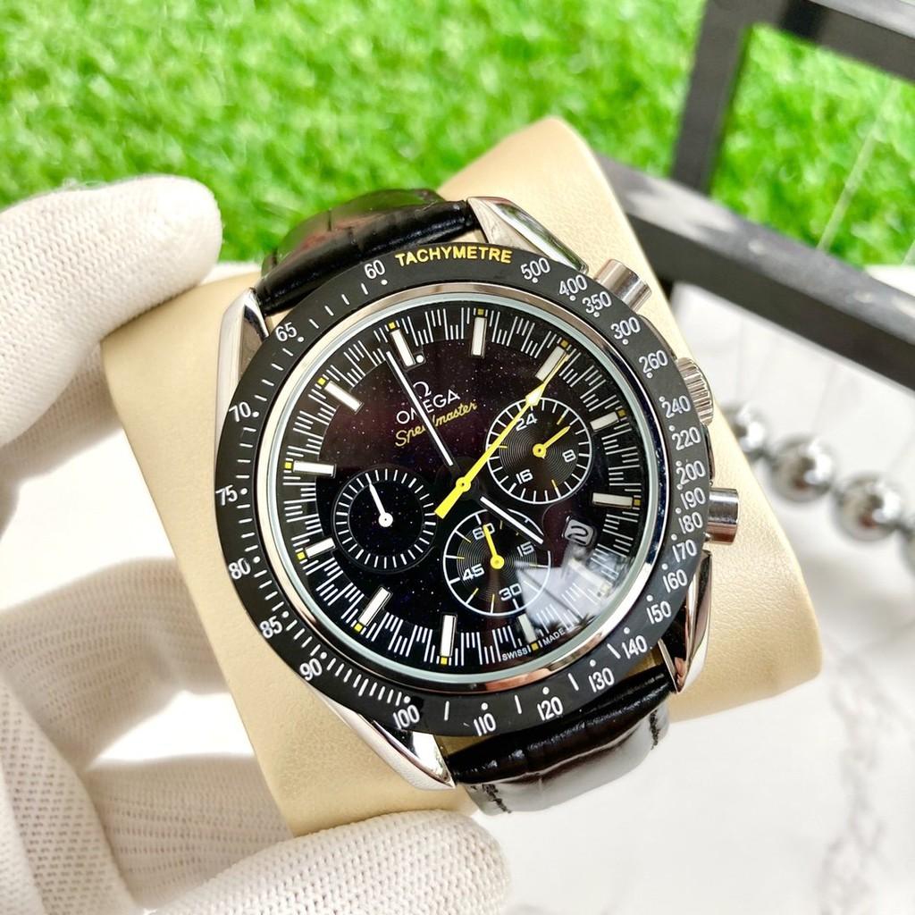 現貨 歐米茄-OMEGA男錶 六針跑秒設計石英腕錶 男士腕錶 三眼日曆手錶 時尚百搭 歐米茄手錶 商務錶 三眼計時錶腕錶
