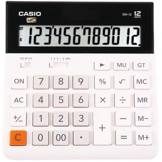 正品Casio卡西歐MHDH-12超寬計算器12位數太陽能大號商務辦公時尚可愛電子計算機財務會計DH12 MH12白色靜