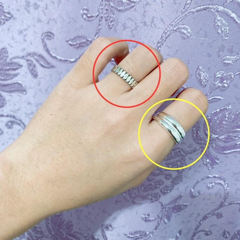 S925 純銀 羅馬簡約/雙層光圈 可調節戒指