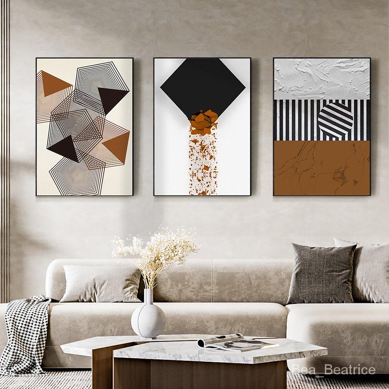 【熱賣】敘說 現代簡約裝飾畫抽象幾何客廳沙發背景墻掛畫樣板間藝術壁畫