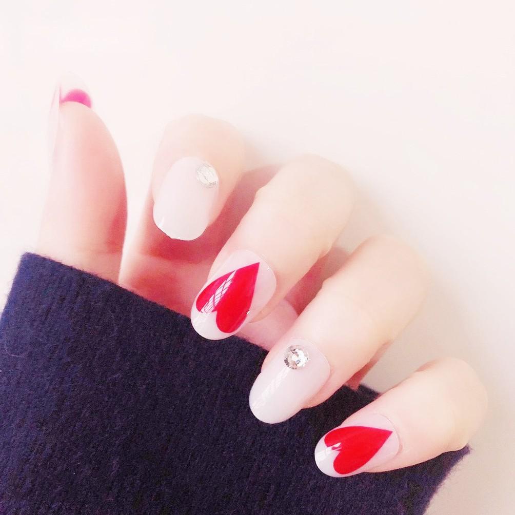 指甲貼片 NL194 RED HEART 紅色ins風歐美新娘日韓穿戴美甲假指甲貼片【買1送5配件】
