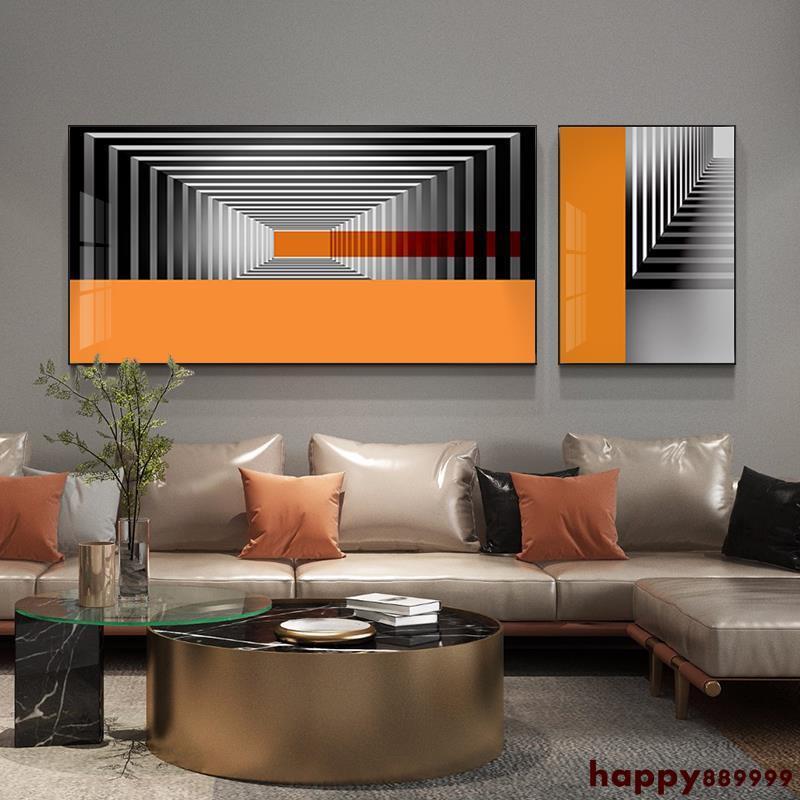 壁畫 掛畫 裝飾畫 現代美式 居家裝飾 客廳裝飾畫現代簡約兩聯創意組合沙發背景墻面掛畫抽象輕奢高檔畫全店免運