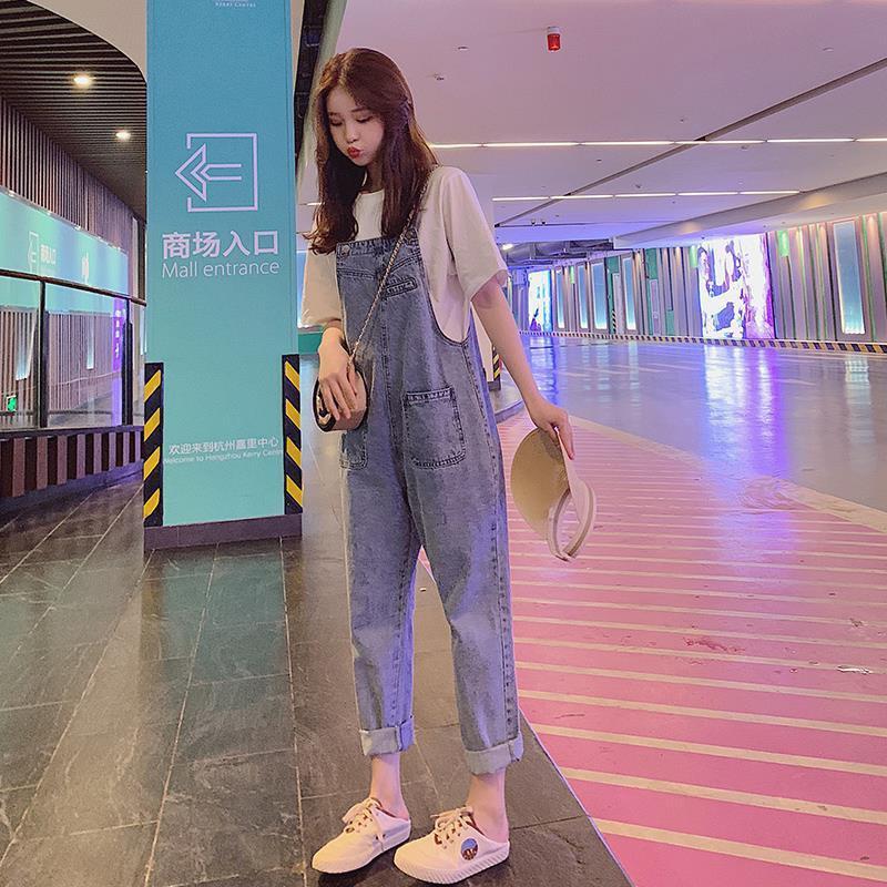 網紅森女系牛仔背帶褲女2021春秋裝新款韓版寬鬆小個子九分牛仔褲潮